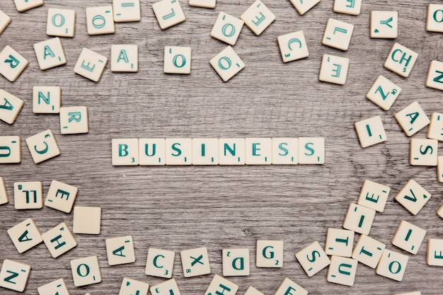 Letters forming the word business