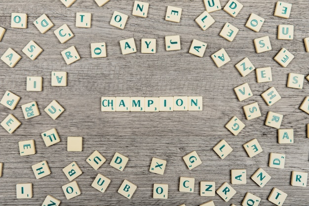 Letters forming the word champion