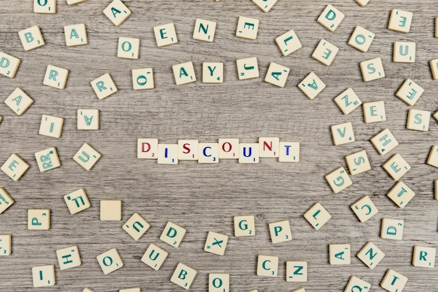 Letters forming the word discount