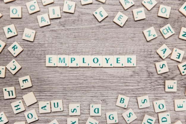 Letters forming the word employer
