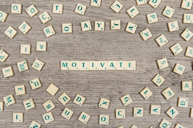 Letters forming the word motivate