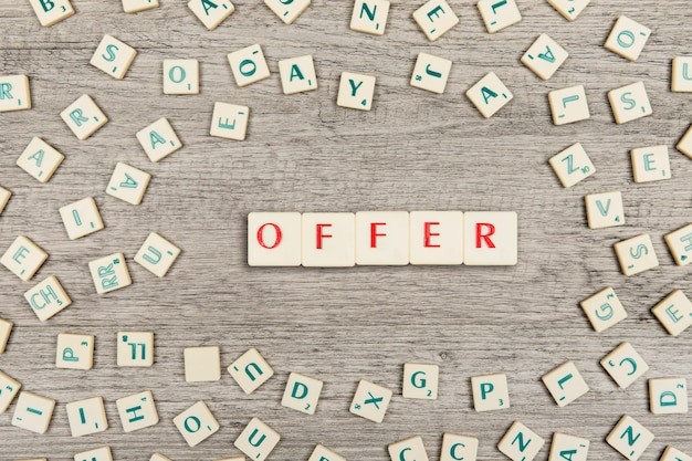 Letters forming the word offer