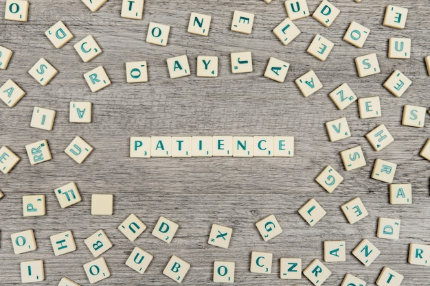 Letters forming the word patience