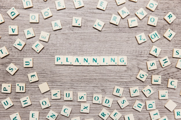 Letters forming the word planning