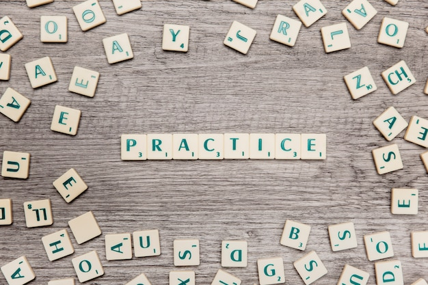 Letters forming the word practice