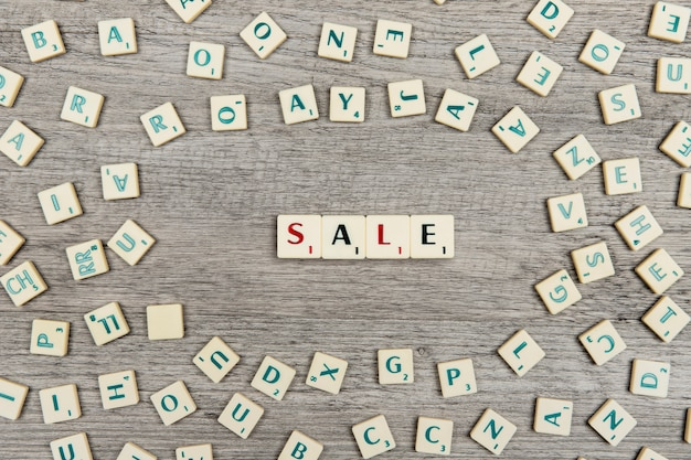 Letters forming the word sale