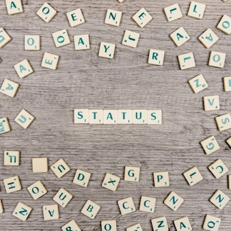 Letters forming the word status
