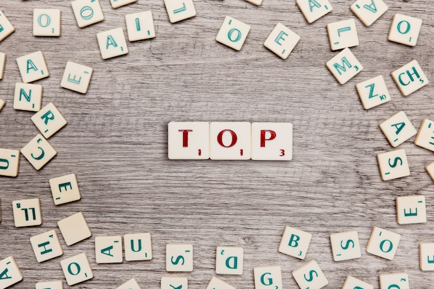 Letters forming the word top
