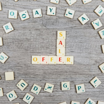 Letters forming the words sale and offer