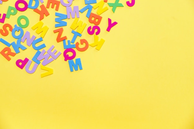 Letters on yellow table