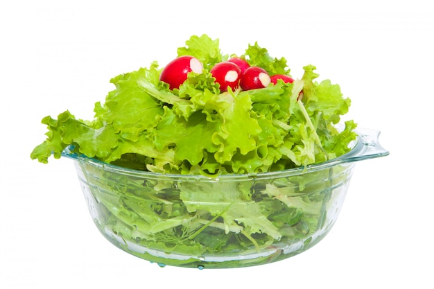 Lettuce and radishes in a bowl