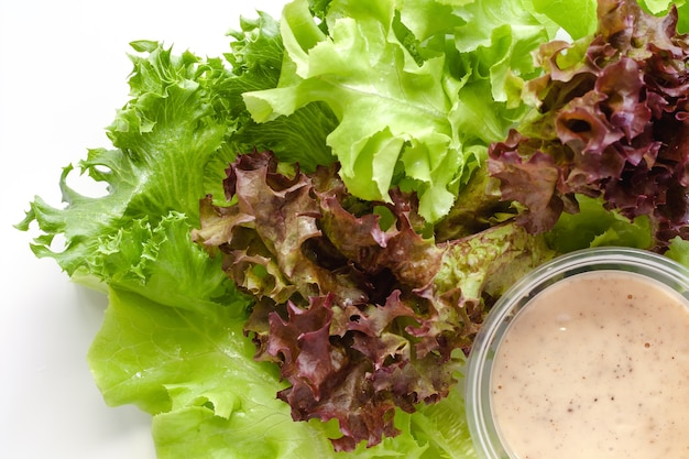 Lettuce with homemade salad dressing on white background for heathy eating concept
