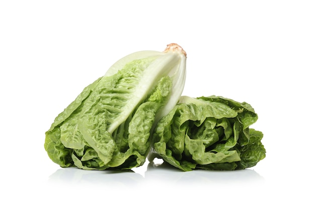Lettuces on a white surface