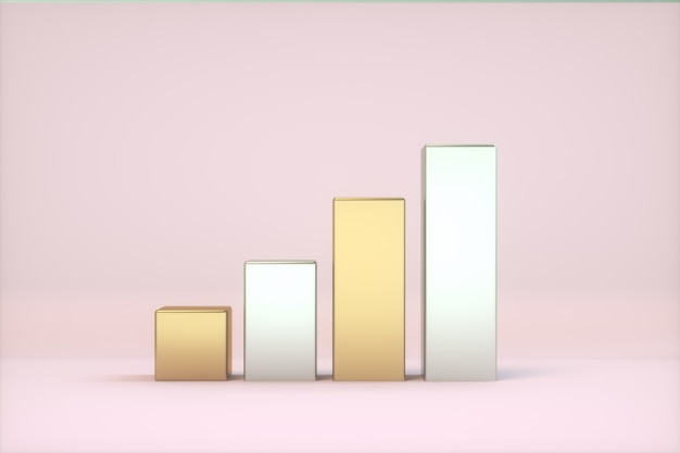 Level sign gold and silver colors pink