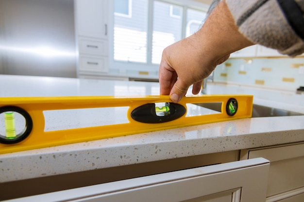 Leveling with countertops of making a modern domestic kitchen cabinets