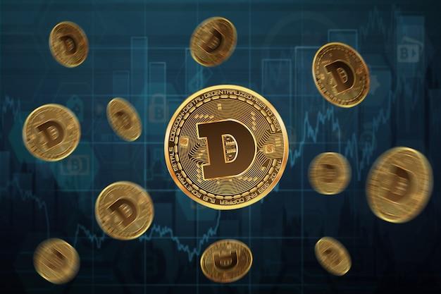 파란색으로 그래프의 배경에 도지코인 동전을 띄우고 많은 비행 동전