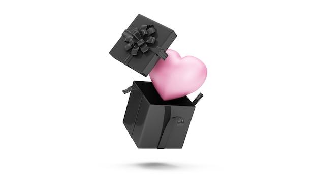 공중 부양은 흰색 바탕에 핑크 하트 내부와 블랙 선물 상자를 열었습니다.