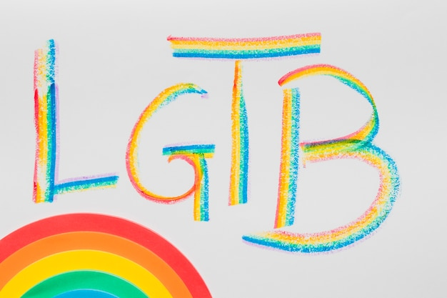 Lgbt abbreviation and colorful rainbow