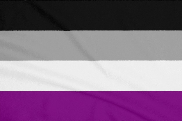 Lgbt asexual community flag on a textured fabric. pride symbol