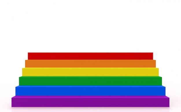 Lgbt color style staircase on white copy space background.