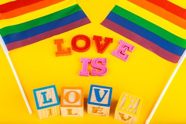 Lgbt concept, text love, lgbt flag