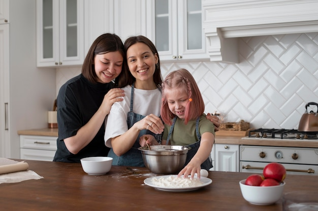 Lgbt couple spending time together with their daughter