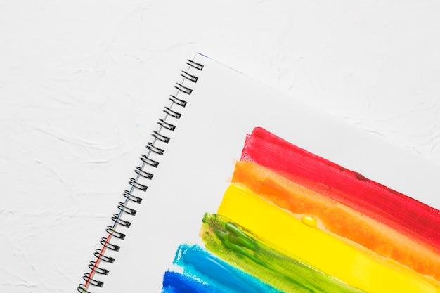 Lgbt drawn stripes in sketchbook