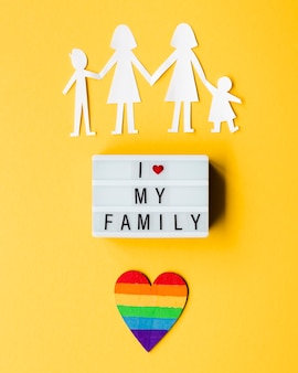 Lgbt family concept on yellow background