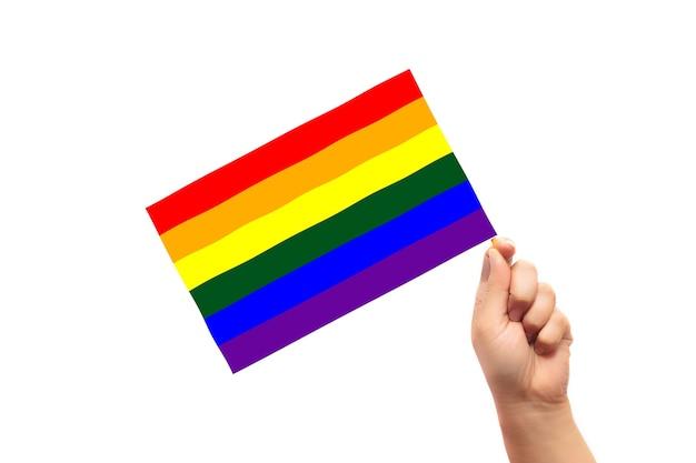 Lgbtの旗は、白い背景で隔離の子供の手で保持されています