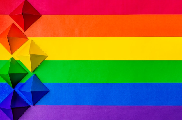 Lgbt flag and paper origami