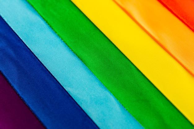 Lgbt flag symbol made of satin ribbons