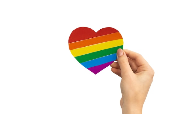 Lgbt 심장 흰색 배경에 고립입니다. 프라이드 월, 레즈비언 및 게이 권리 개념 사진