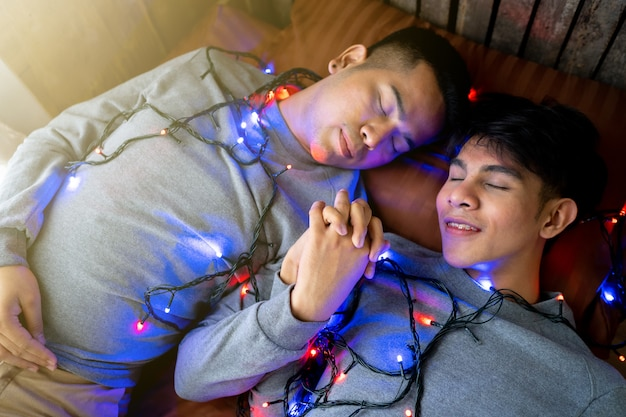 Lgbt male homosexual lovers, gay couple in bed