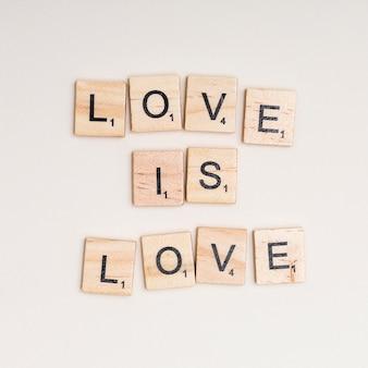 Lgbtモットー愛は白い背景の上の愛