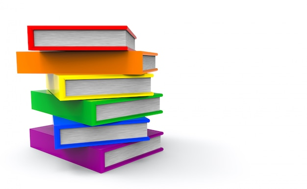 Lgbt rainbow color style books on gray copy space background.