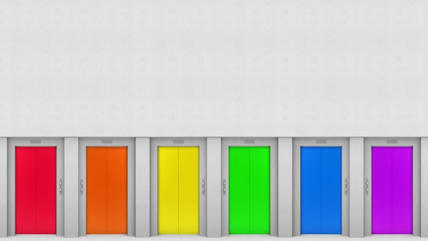 Lgbt rainbow colorful elevator door style on cement wall backgorund.