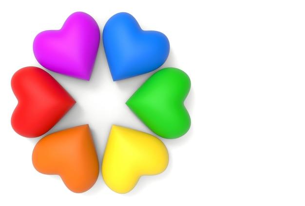Lgbt радуга красочные формы сердца на фоне копирования пространства на белом фоне.