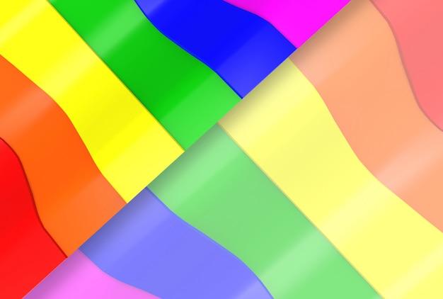 Lgbt rainbow curve pattern flag wall background.