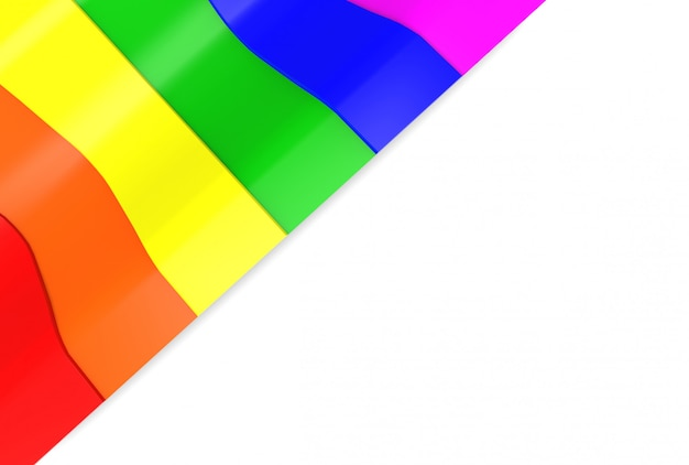 Lgbt rainbow curve pattern flag on white wall background.