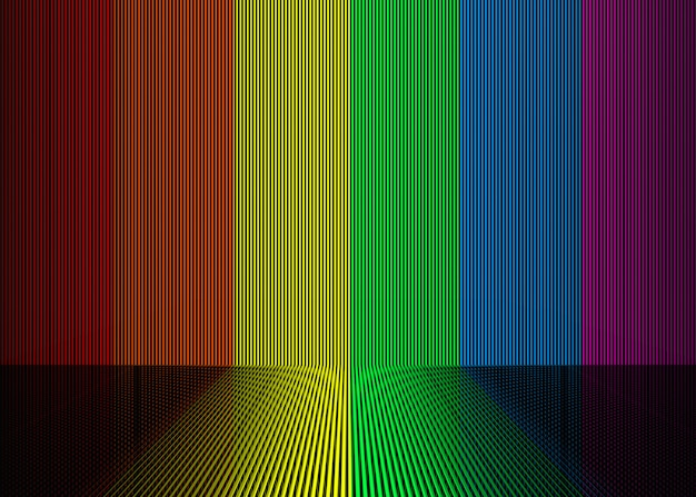 Lgbt rainbow gradient color vertical bar wall and floor background.
