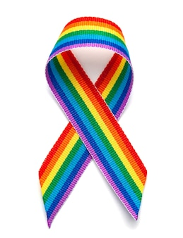 Lgbt 무지개 리본 프라이드 테이프 기호입니다. 동성애 혐오를 멈춰주세요. 흰색 배경에 고립.