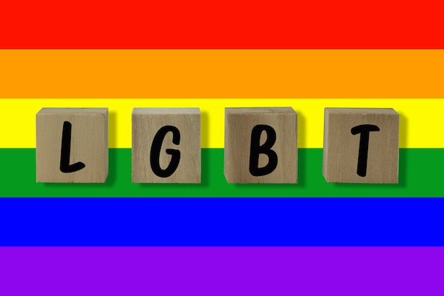 Lgbt text and flag for background