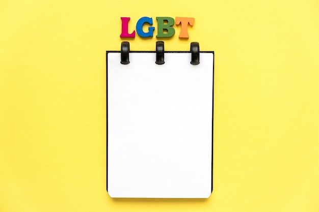 Lgbt word from multicolored letters. copy space.