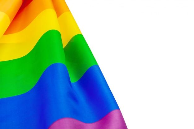 白で隔離lgbtプライド虹色の旗