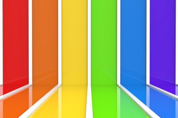Lgbt虹色の垂直バーパターンの壁と床の背景。