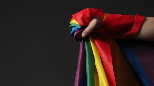Lgbtqフラグまたはレズビアンゲイバイ性的トランスジェンダークィアまたは同性愛プライドレインボーフラッグ。