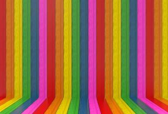 Lgbtq虹色の木パネル壁と床の背景。