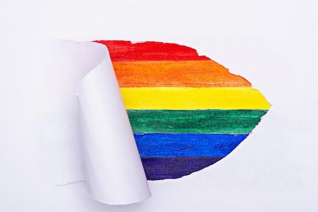 흰색 배경, 무지개 줄무늬, lgbtq 개념, 게이 프라이드, 평면도에 lgbtq 기호