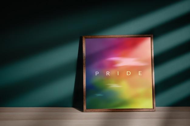 ゲイ、同性愛者、lgbtqiコンセプト。家の床に横たわっている写真のプライドテキスト付きのレインボーカラー画像