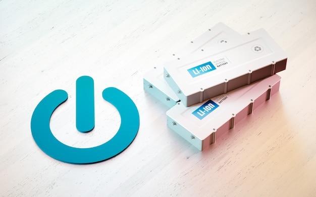 리튬 이온 전기 자동차 배터리 시작 개념. 나무 책상에 ev 배터리가 있는 시작 버튼 기호. 3d 렌더링.